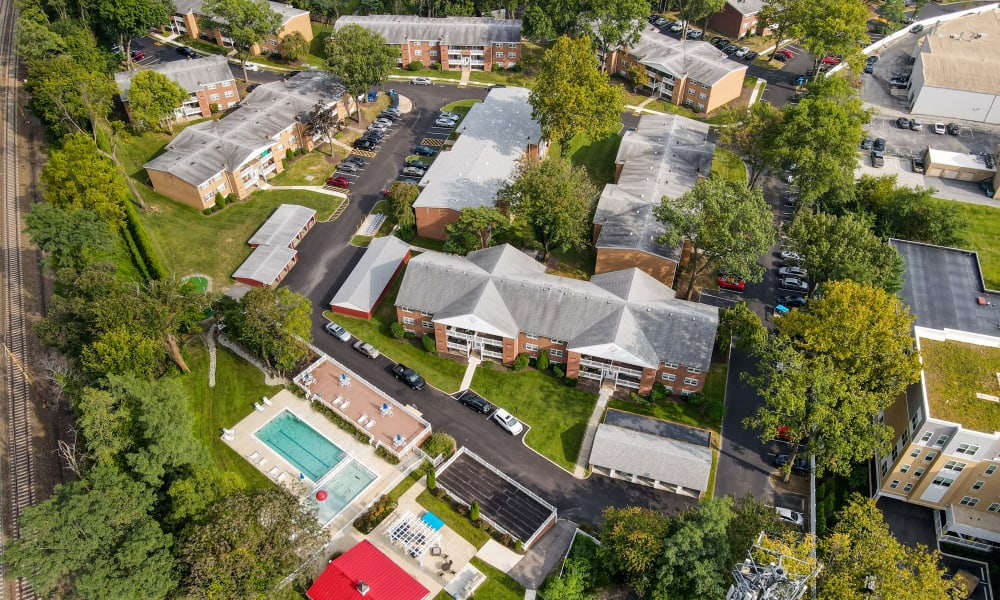Aerial View  at Strafford Station Apartments in Wayne, Pennsylvania