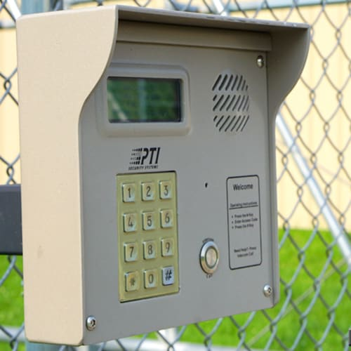 A keypad at the gate of Red Dot Storage in Janesville, Wisconsin