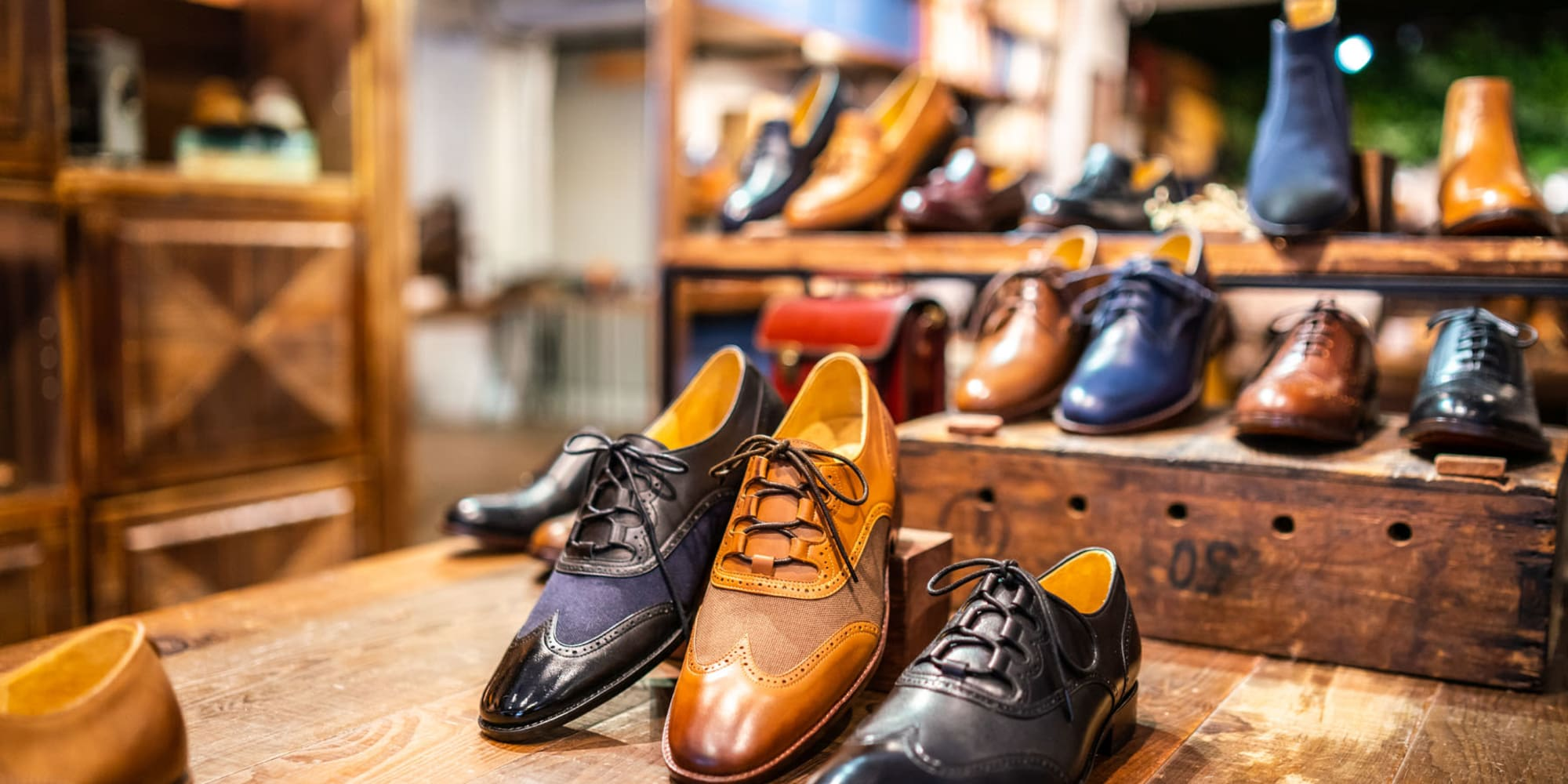 Men's shoes on display at a downtown shop near Mediterranean Village in West Hollywood, California