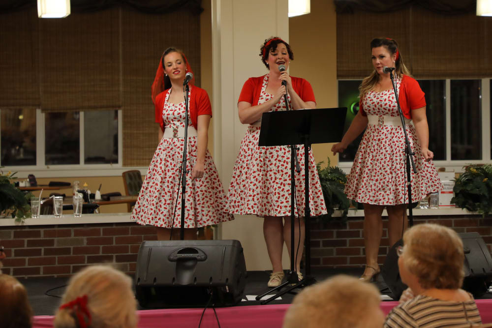 Singers at the Merrill Gardens at Madison Sock Hop Party