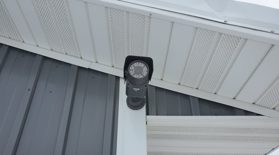 A security camera contributes to security measures at KO Storage of Rush City in Rush City, Minnesota