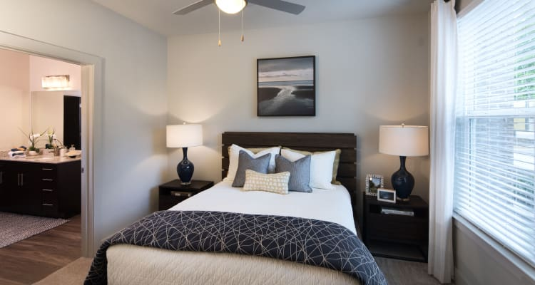 Lovely model bedroom at Leigh House Apartment Homes in Raleigh, North Carolina