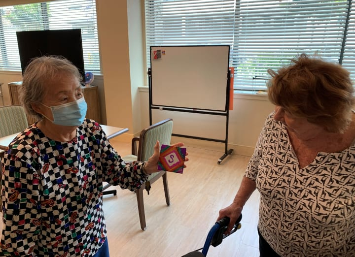 Rolling Hills Estates residents work on their colorful and fun coasters!