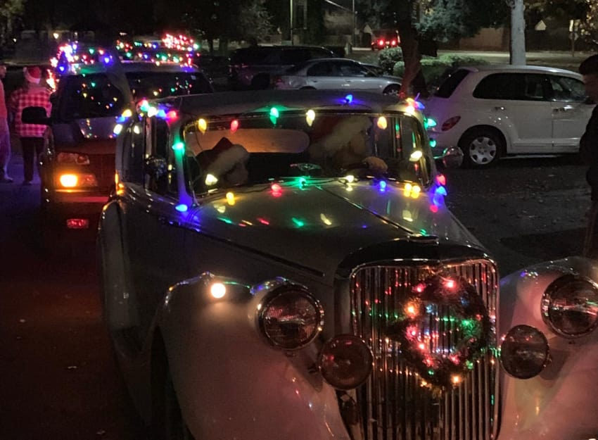 Christmas parade at Golden Pond Retirement Community in Sacramento, California
