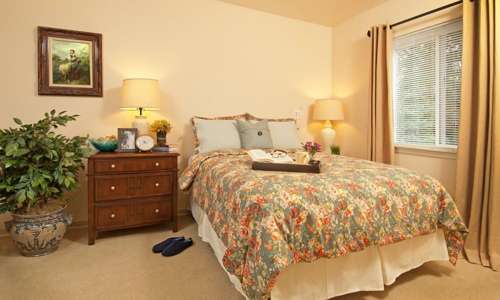 Spacious bedroom with a large window at Patriots Glen in Bellevue, Washington.