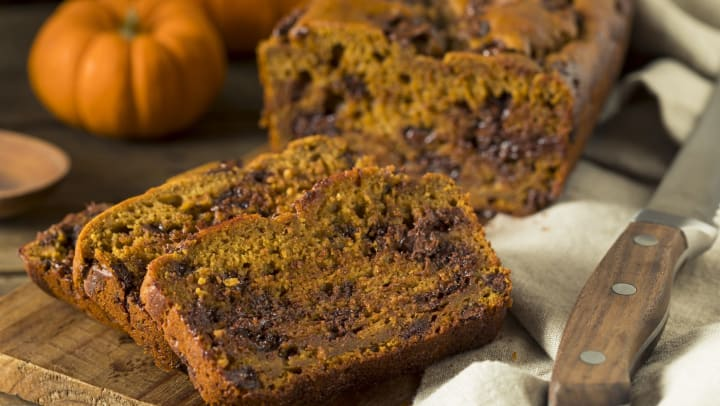 Sliced pumpkin bread with chocolate chips at Vive