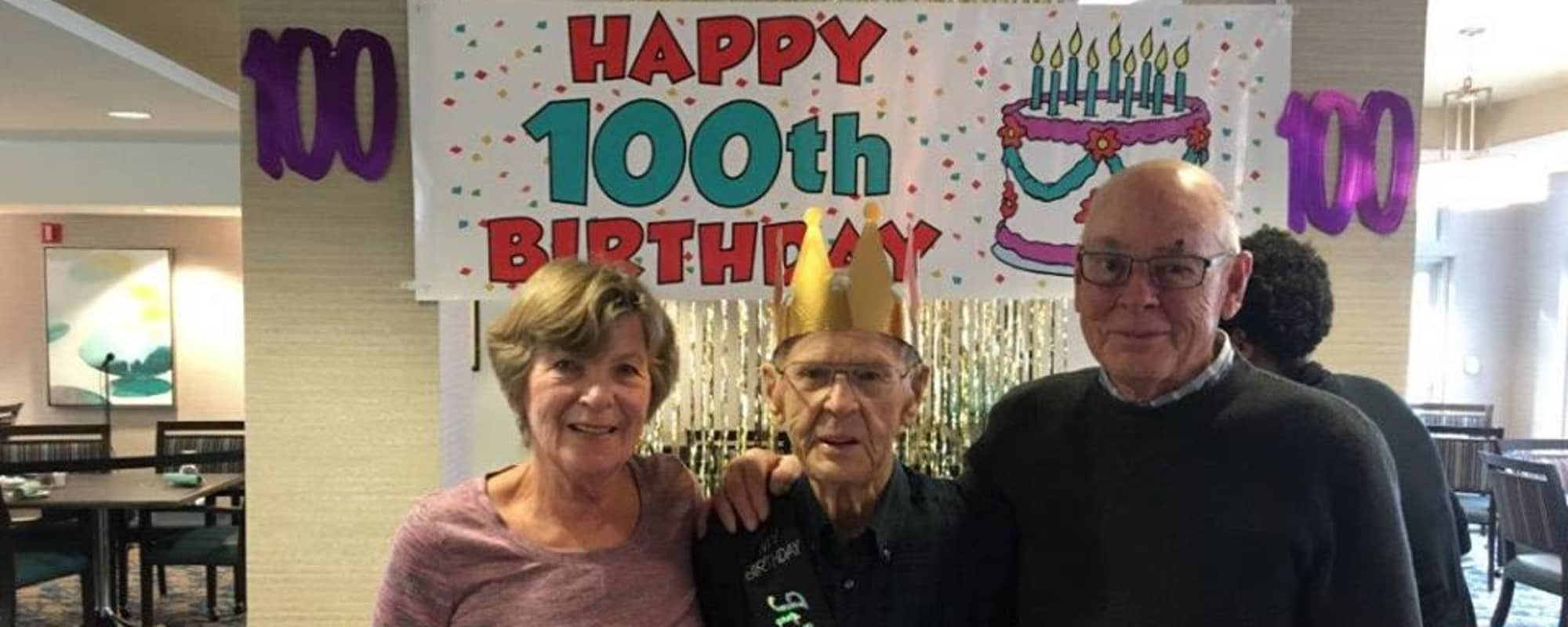Happy 100th birthday at Northgate Plaza in Seattle, Washington