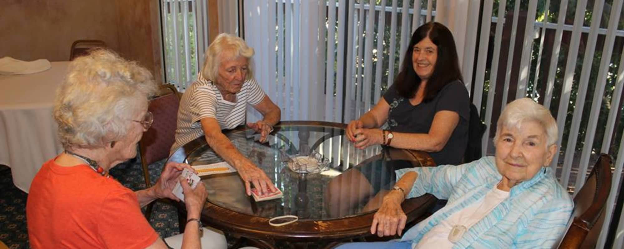 Seniors playing cards at The Montera in La Mesa, California
