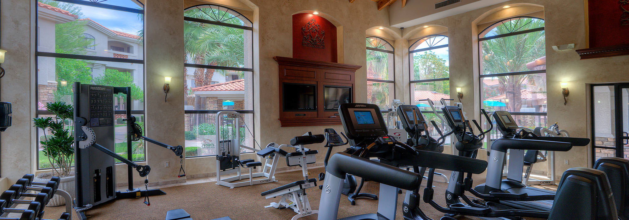 Luxury indoor gym at San Marbeya in Tempe, Arizona