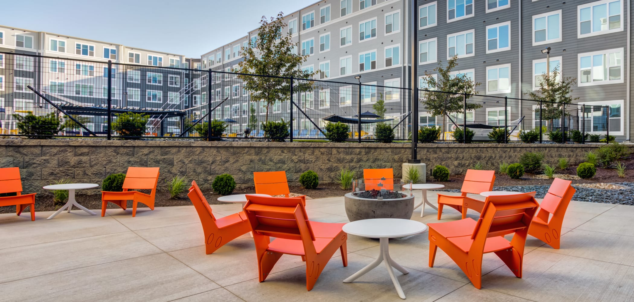 Outdoor Lounge Area at LATITUDE at River Landing in Coralville, Iowa