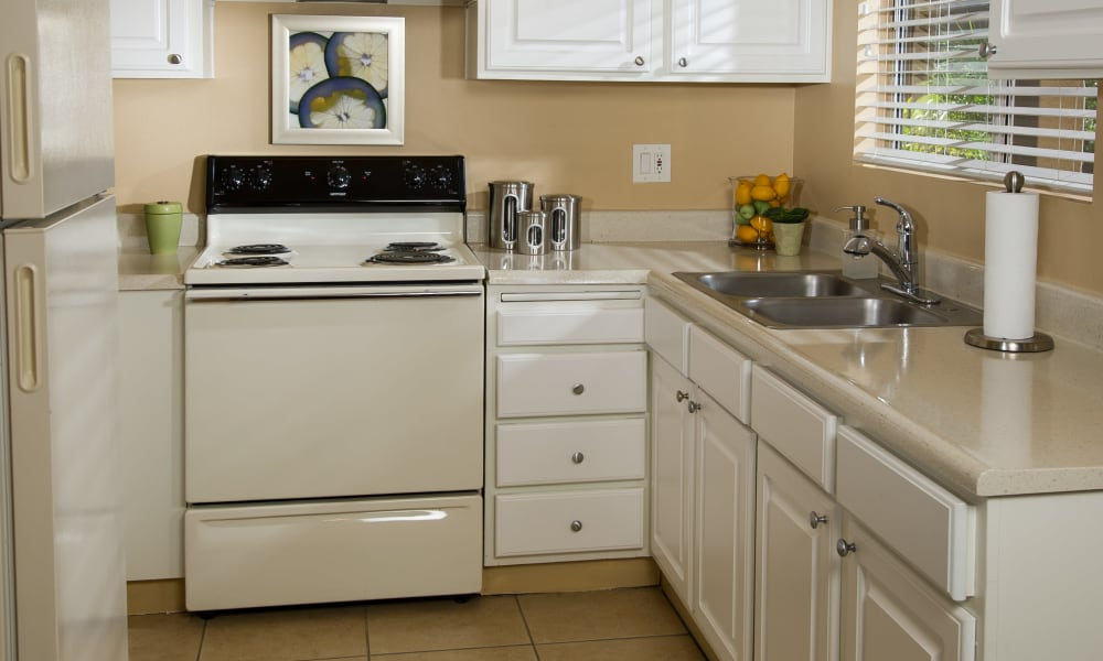 Updated kitchen at apartments in Glendale, California