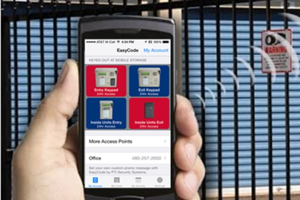 Phone with the Easycode app at STORBOX Self Storage in Pasadena, California