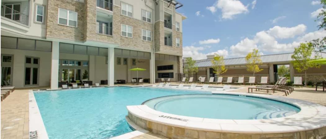 Swimming pool at GreenVue Apartments