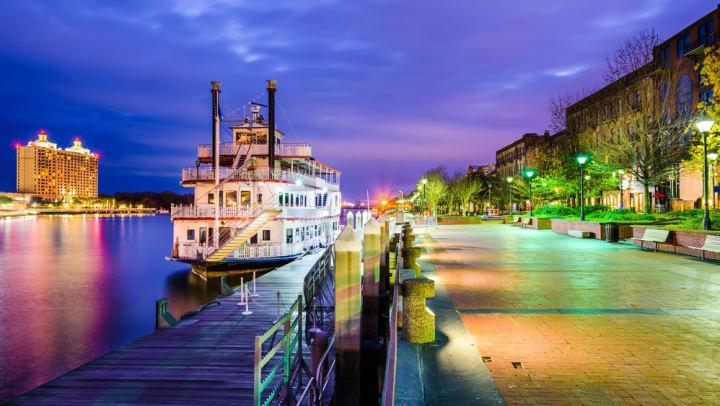 Colorful dusk at one of the Savannah Riverboat Cruise embarkation locations near Walden at Chatham Center in Savannah, Georgia