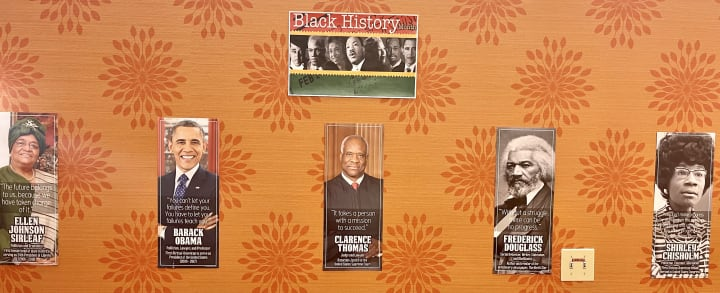 Quotes from African American historical figures were posted on the walls of First Hill