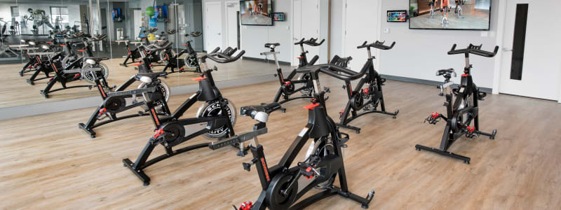 Spin bikes at Alesio Urban Center in Irving, Texas