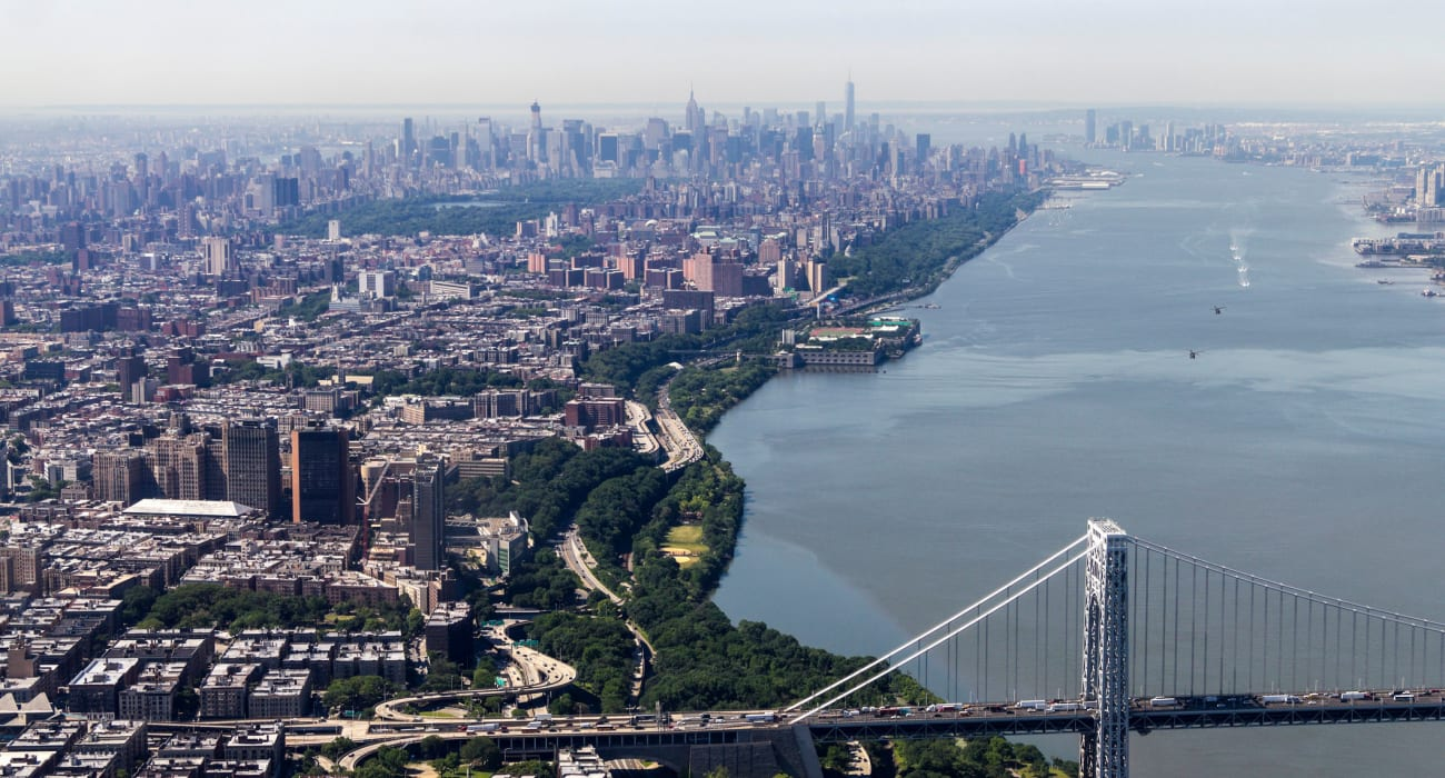 Aerial view of George Washington Bridge going into Manhattan near General Wayne Townhomes and Ridgedale Gardens in Madison, New Jersey