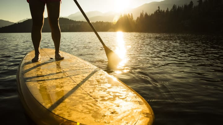 A personal paddleboards on a body of water