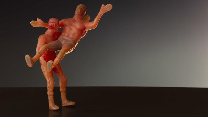 Toy wrestlers wrestling