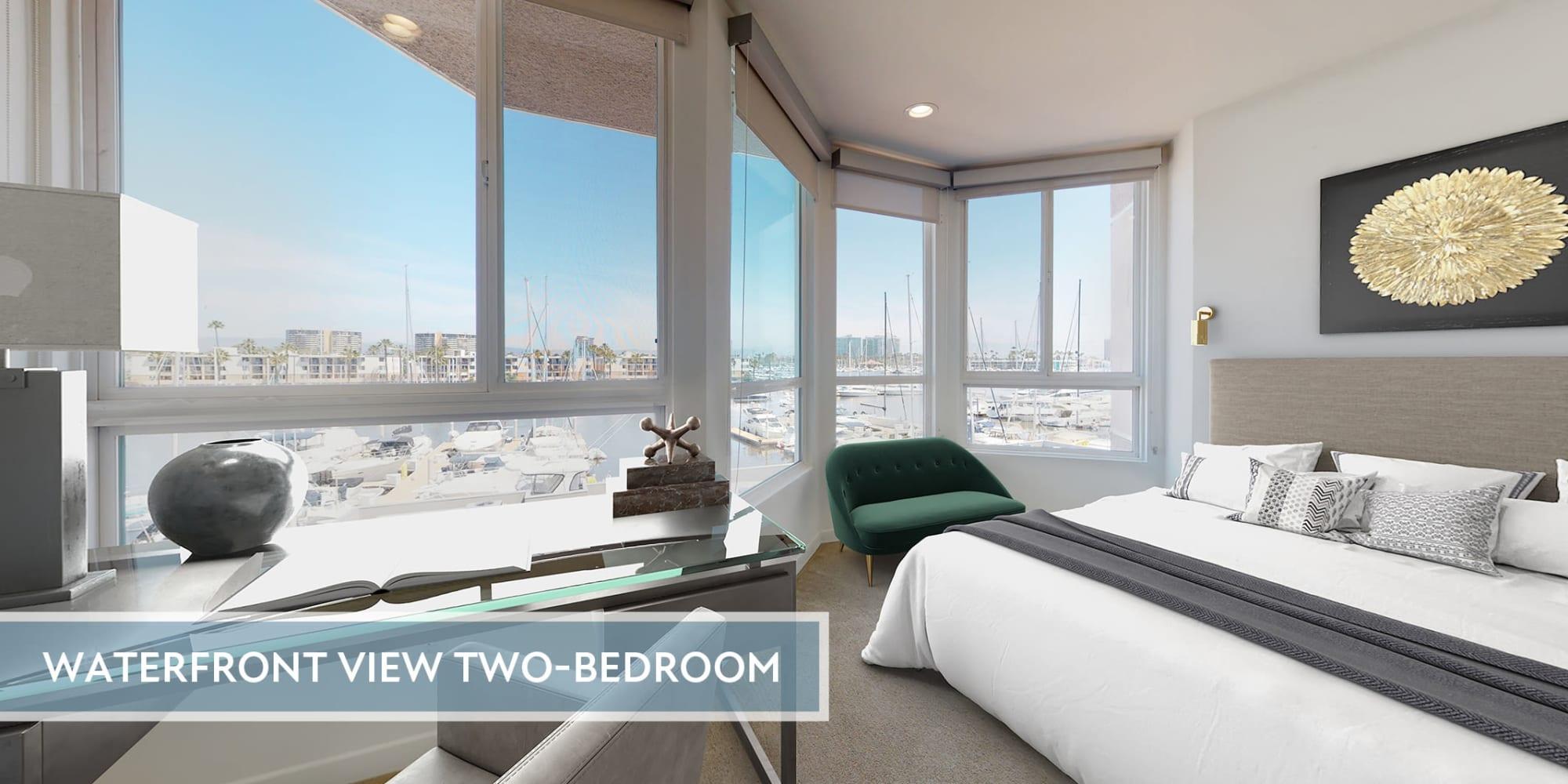 Bedroom with expansive views of the marina at Esprit Marina del Rey in Marina del Rey, California