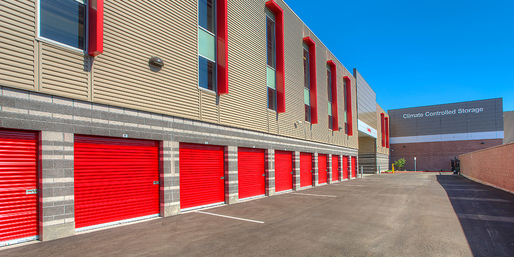 Facility exterior with drive-up access storage units at StorQuest Self Storage in Phoenix, Arizona