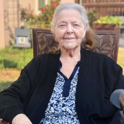 A resident at Oxford Glen Memory Care at Sachse in Sachse, Texas