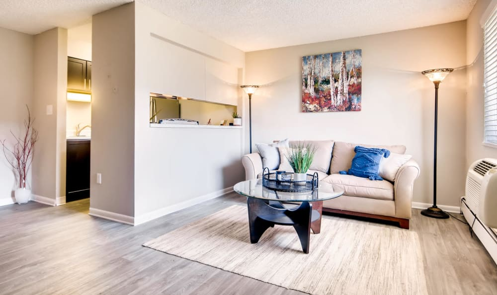 Spacious living room with a large window for natural light at Mountain Vista in Lakewood, Colorado