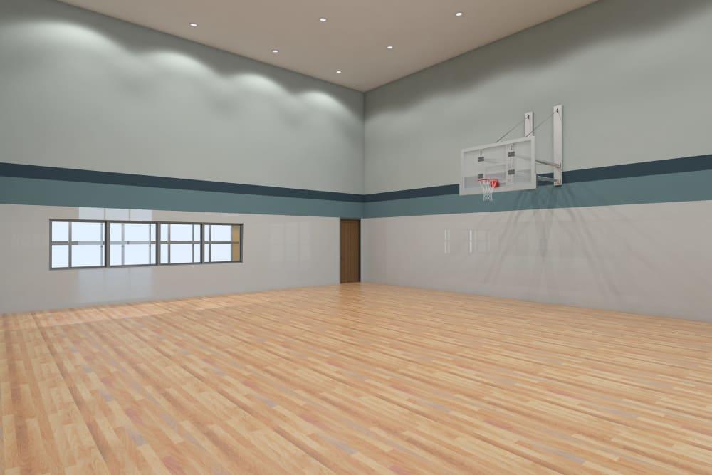 Modern basketball court at apartments in Chandler, Arizona
