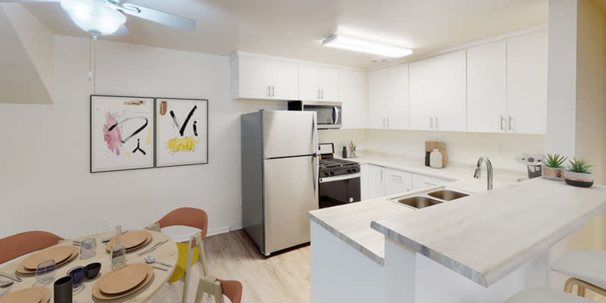 Open kitchen of a one bedroom apartment at West Park Village in Los Angeles, California