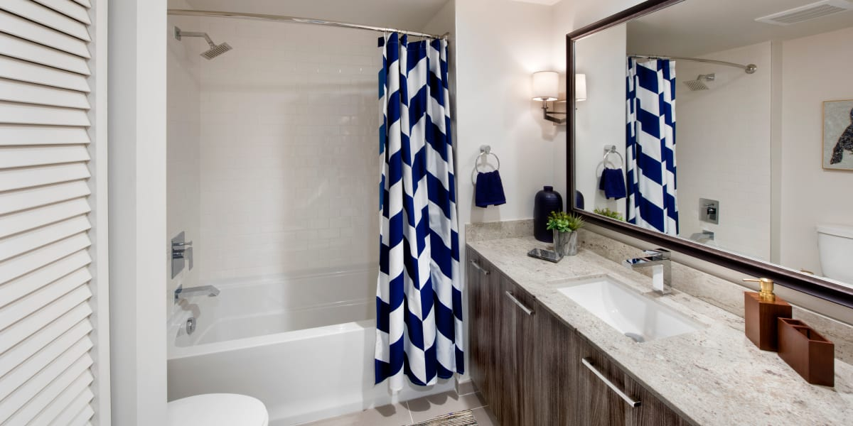 Harbor Group Management apartment bathroom with water efficient appliances in Norfolk, Virginia