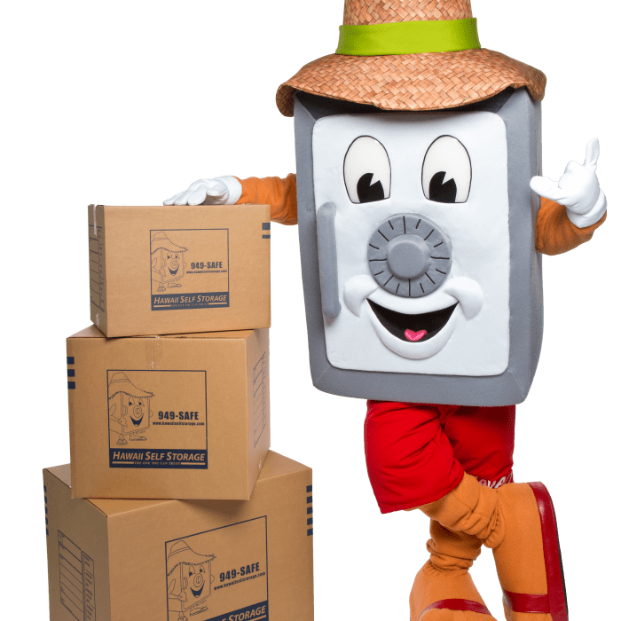 Mr. Safety posing with moving boxes, which can be purchased in the office at any Hawai'i Self Storage location