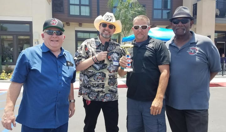 Friends at the Merrill Gardens at Rancho Cucamonga classic car show.