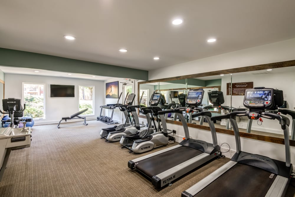 Fitness center at Beech Lake Apartments in Durham