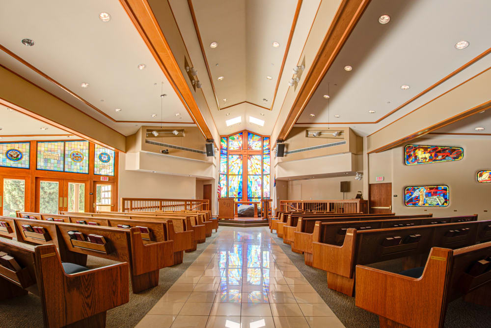 Pews in church at Westmont Village in California