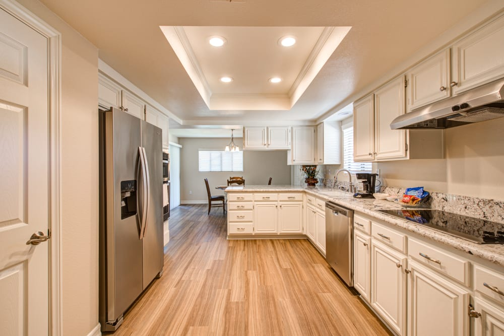 Well lit kitchen model at Westmont Village in California