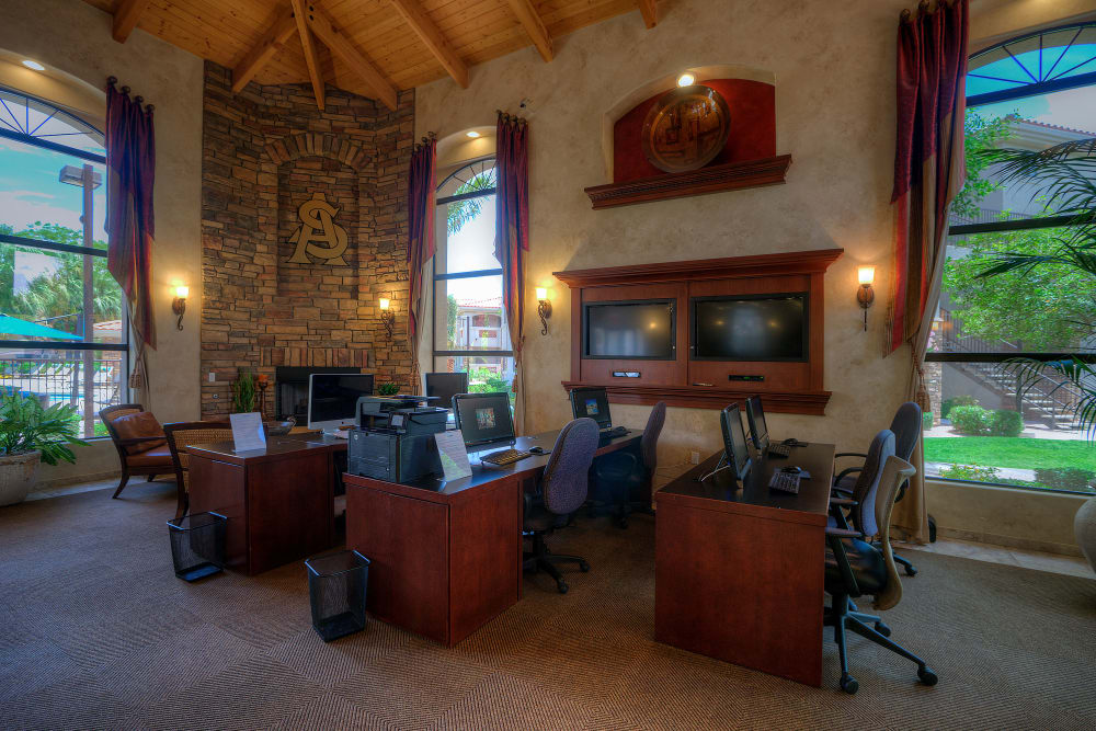 Rustic decor in business center with computers at San Marbeya in Tempe, Arizona