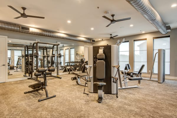 Treadmills and ellipticals at Atwood at Ellison in Dallas, Texas