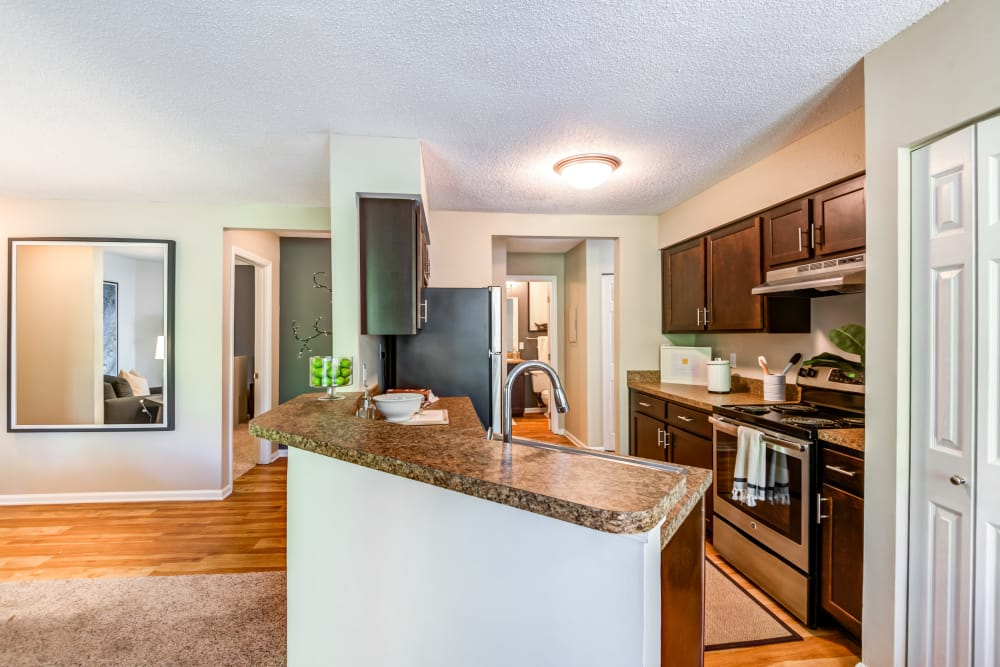 Kitchen at apartments in Durham, NC