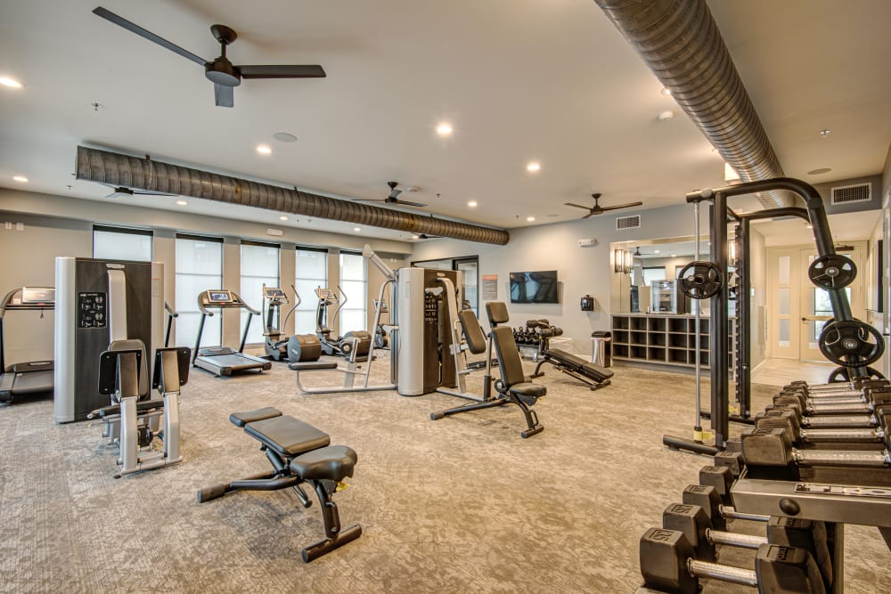 Fitness center at Atwood at Ellison in Dallas, Texas