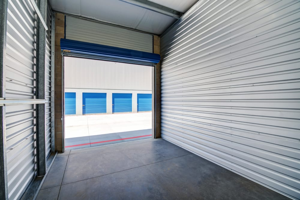 Interior drive-up unit at Silverhawk Self Storage