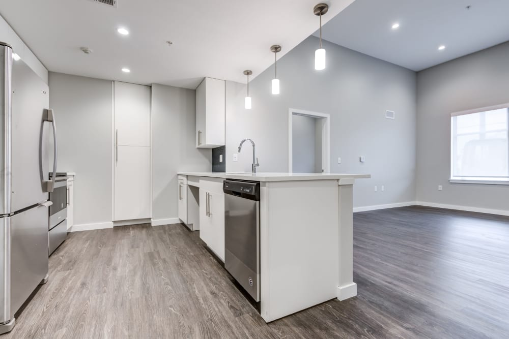 2 bedroom open kitchen with island at The Forge in Buffalo, New York