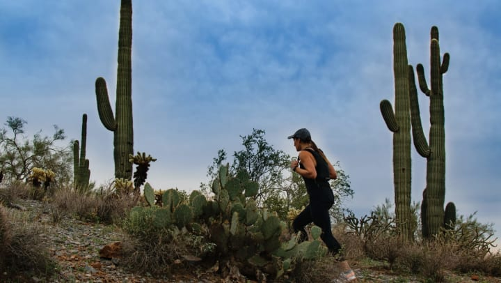 Woman hiking on a trail with saguaro cacti in the background