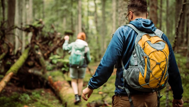 A person wearing shorts and a backpack and a man wearing a sweatshirt and backpack walking on a log in a forested area