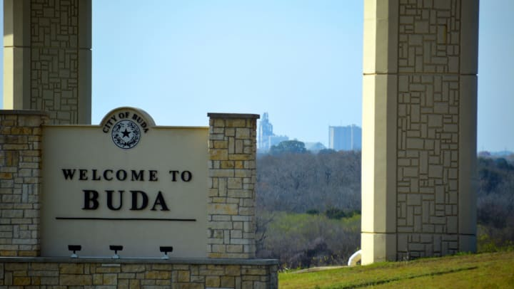 """The """"Welcome to Buda"""" sign in Buda, Texas"""