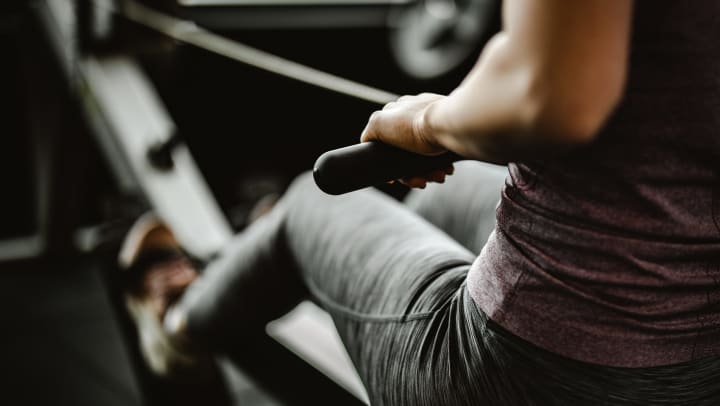 Person using a rowing machine