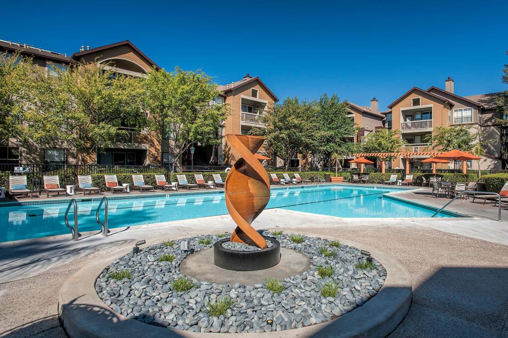 Beautiful pool hang out with design elements at Rosewalk in San Jose, California