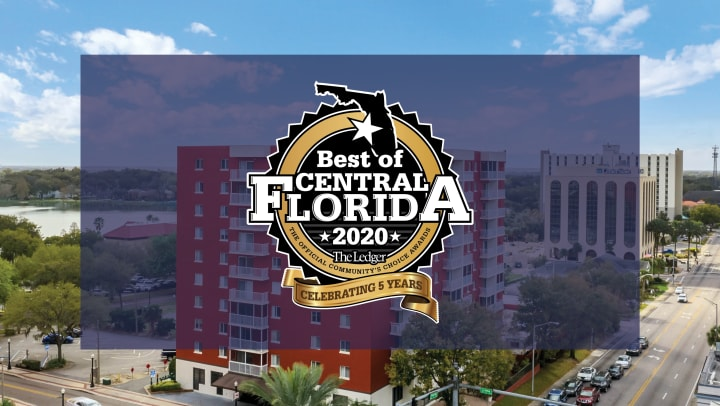 "Building in background with the seal stating ""Best of Central Florida 2020 The Ledger. Next line: The official Community"