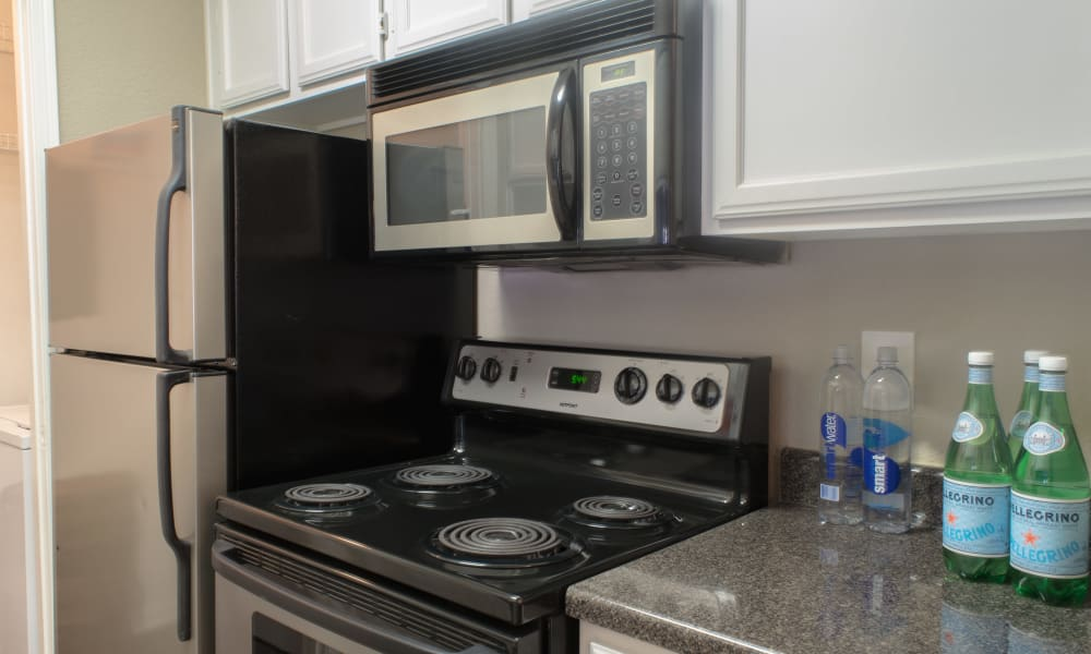 Stainless steel appliances at Hyde Park at Enclave in Houston