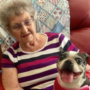 Resident Helen with her new canine friend at Courtyard Estates at Hawthorne Crossing in Bondurant, Iowa.
