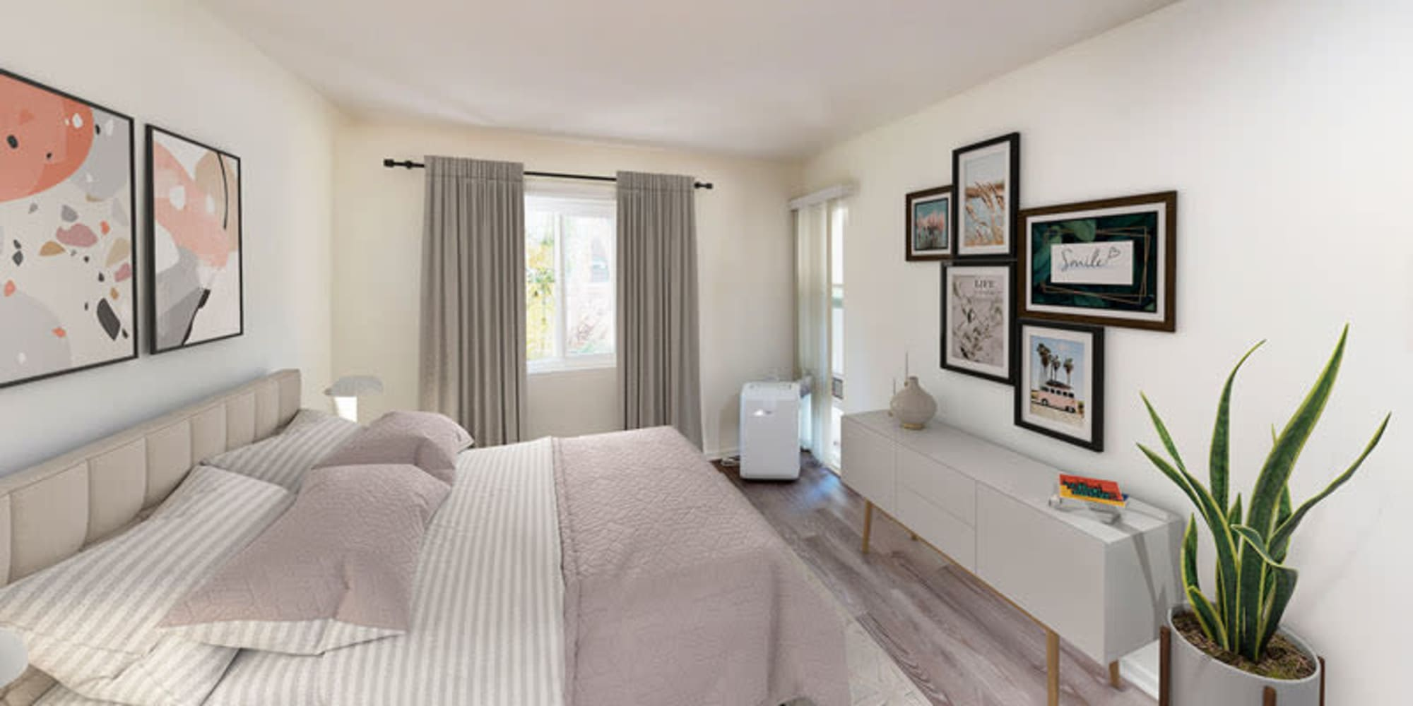 Open bedroom of one bedroom apartment at West Park Village in Los Angeles, California
